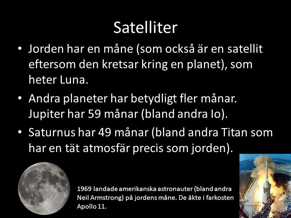 Satelliter Jorden har en måne (som också är en satellit eftersom den kretsar kring en planet), som heter Luna. Andra planeter har betydligt fler månar