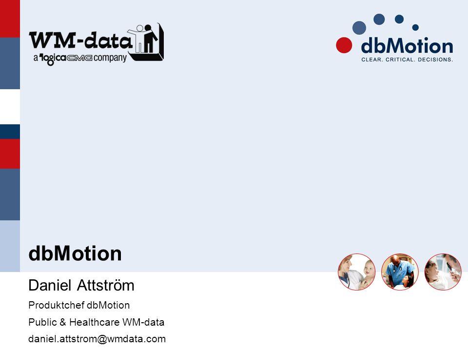 Daniel Attström Produktchef dbMotion Public & Healthcare WM-data daniel.attstrom@wmdata.com dbMotion