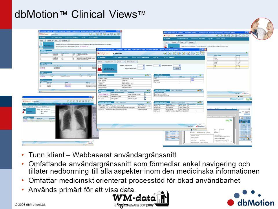© 2006 dbMotion Ltd. dbMotion ™ Clinical Views ™ Tunn klient – Webbaserat användargränssnitt Omfattande användargränssnitt som förmedlar enkel naviger