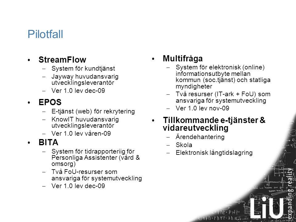 10 Pilotfall StreamFlow – System för kundtjänst – Jayway huvudansvarig utvecklingsleverantör – Ver 1.0 lev dec-09 EPOS – E-tjänst (web) för rekryterin