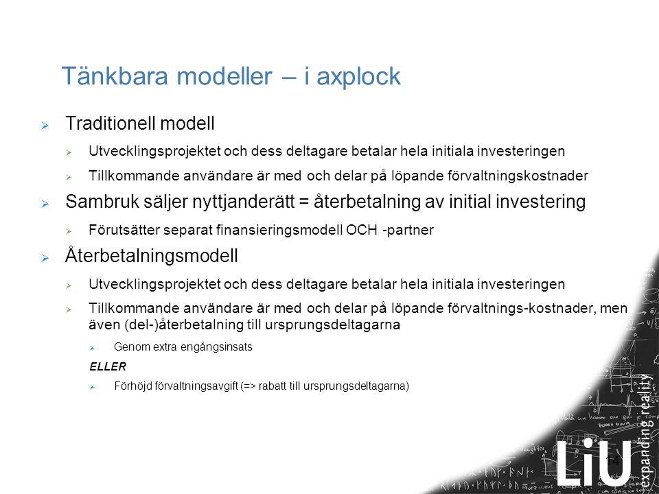 14 Tänkbara modeller – i axplock  Traditionell modell  Utvecklingsprojektet och dess deltagare betalar hela initiala investeringen  Tillkommande an