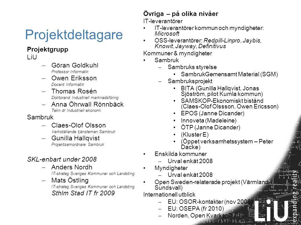 Projektdeltagare Projektgrupp LiU – Göran Goldkuhl Professor Informatik – Owen Eriksson Docent Informatik – Thomas Rosén Doktorand Industriell marknad
