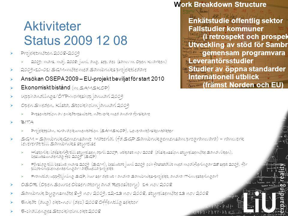 Aktiviteter Status 2009 12 08  Projektmöten 2008-2009  2009: mars, maj, 2008: juni, aug, sep, dec (samv m Open Kvarken)  2009-10-01: SGM-möte med S