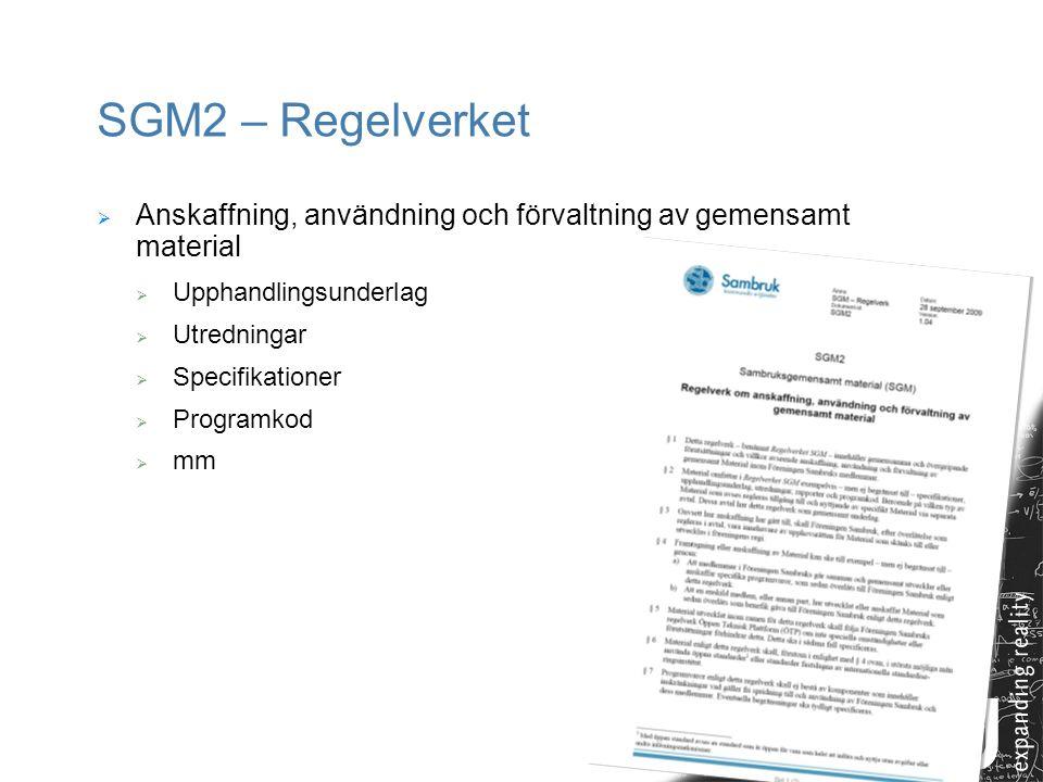 8 SGM2 – Regelverket  Anskaffning, användning och förvaltning av gemensamt material  Upphandlingsunderlag  Utredningar  Specifikationer  Programk