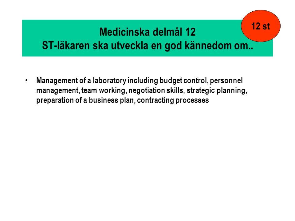 Medicinska delmål 12 ST-läkaren ska utveckla en god kännedom om..