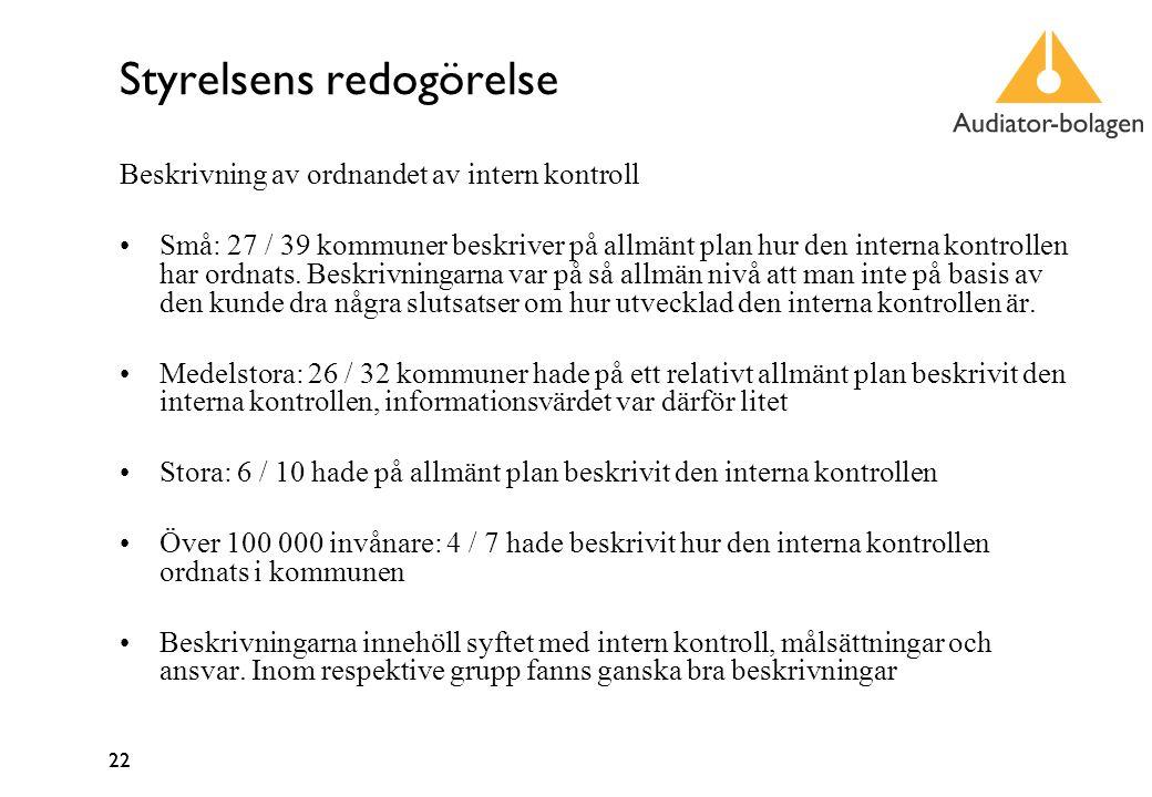 22 Styrelsens redogörelse Beskrivning av ordnandet av intern kontroll Små: 27 / 39 kommuner beskriver på allmänt plan hur den interna kontrollen har ordnats.