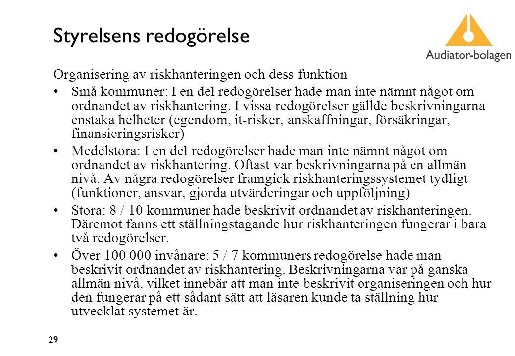 29 Styrelsens redogörelse Organisering av riskhanteringen och dess funktion Små kommuner: I en del redogörelser hade man inte nämnt något om ordnandet av riskhantering.