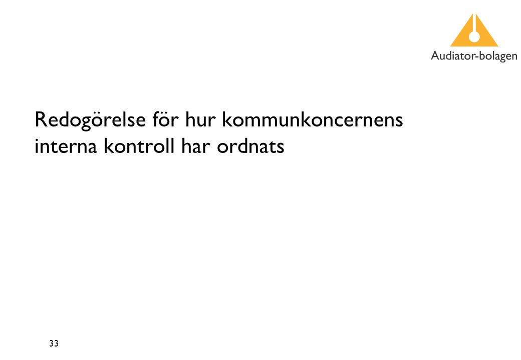 33 Redogörelse för hur kommunkoncernens interna kontroll har ordnats