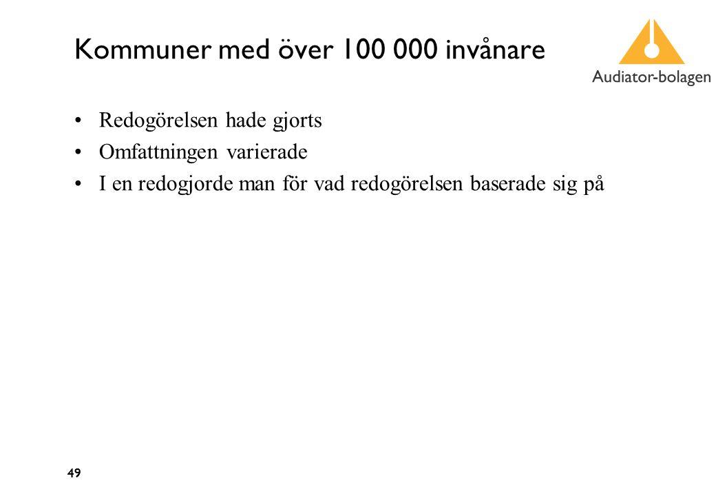 49 Kommuner med över 100 000 invånare Redogörelsen hade gjorts Omfattningen varierade I en redogjorde man för vad redogörelsen baserade sig på 49