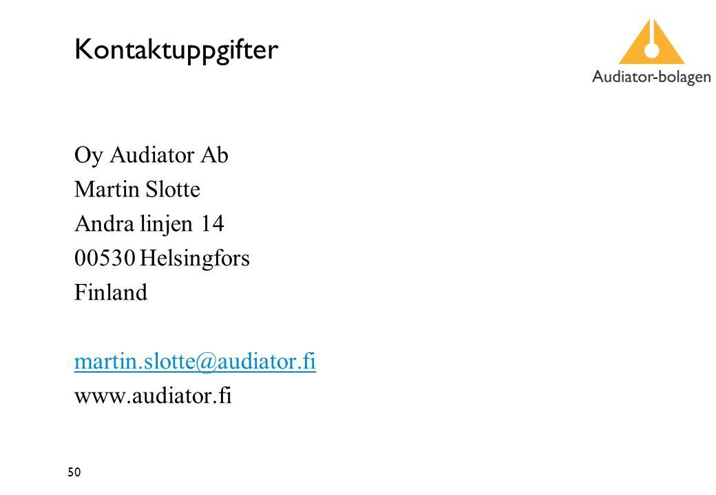 50 Kontaktuppgifter Oy Audiator Ab Martin Slotte Andra linjen 14 00530 Helsingfors Finland martin.slotte@audiator.fi www.audiator.fi