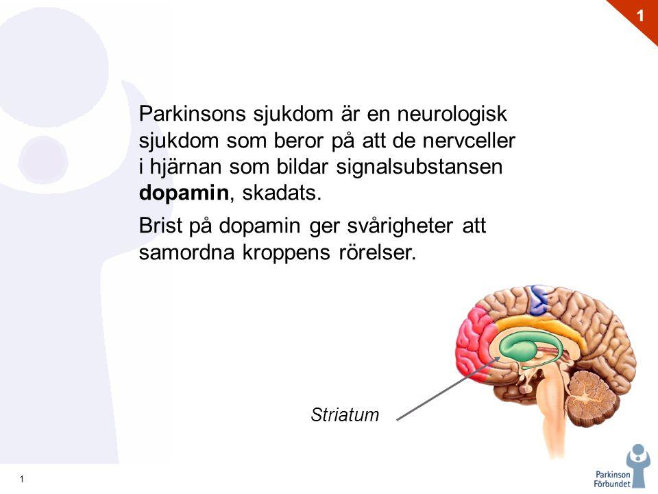 1 1 Striatum Parkinsons sjukdom är en neurologisk sjukdom som beror på att de nervceller i hjärnan som bildar signalsubstansen dopamin, skadats. Brist