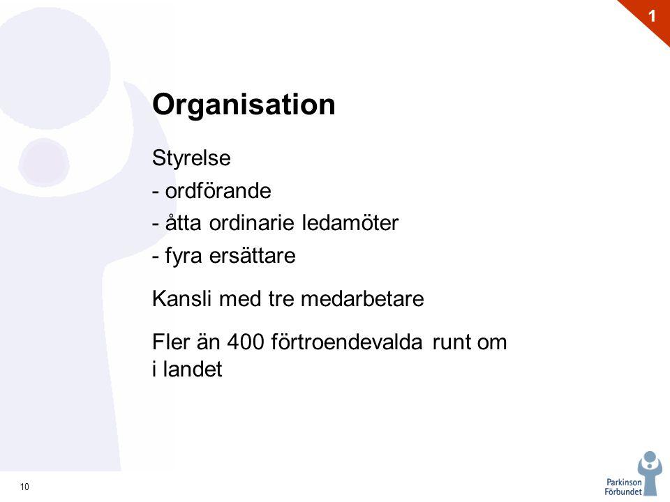10 1 Organisation Styrelse - ordförande - åtta ordinarie ledamöter - fyra ersättare Kansli med tre medarbetare Fler än 400 förtroendevalda runt om i l