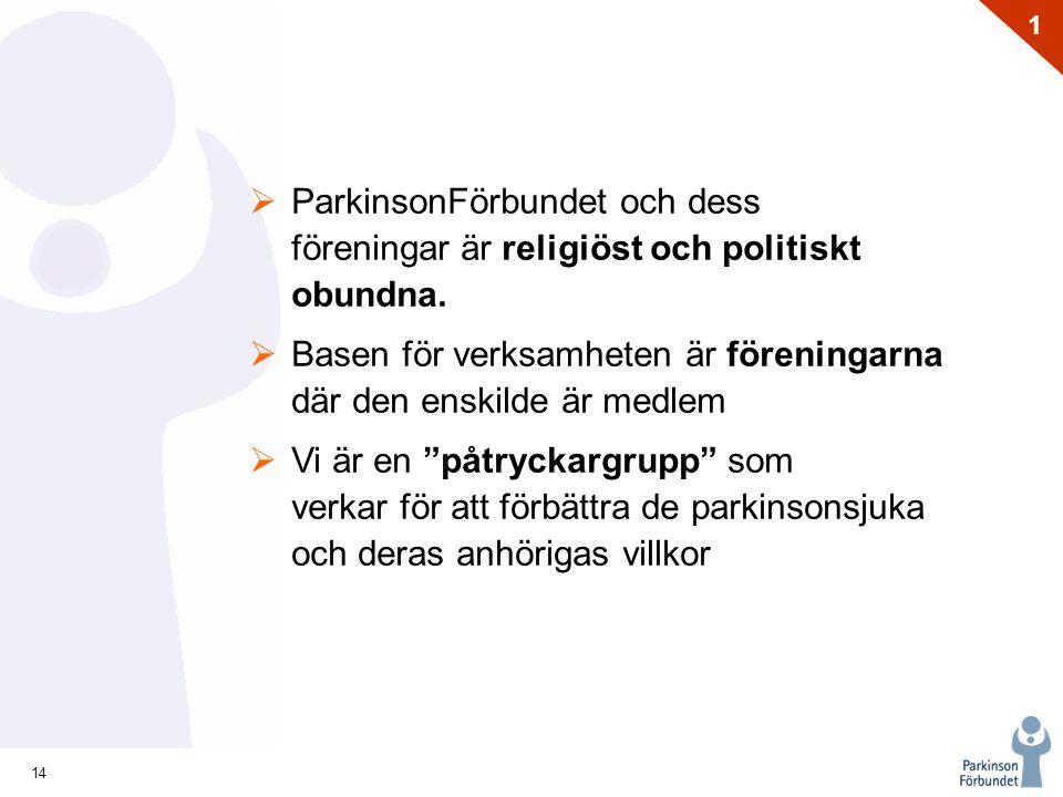 14 1  ParkinsonFörbundet och dess föreningar är religiöst och politiskt obundna.  Basen för verksamheten är föreningarna där den enskilde är medlem