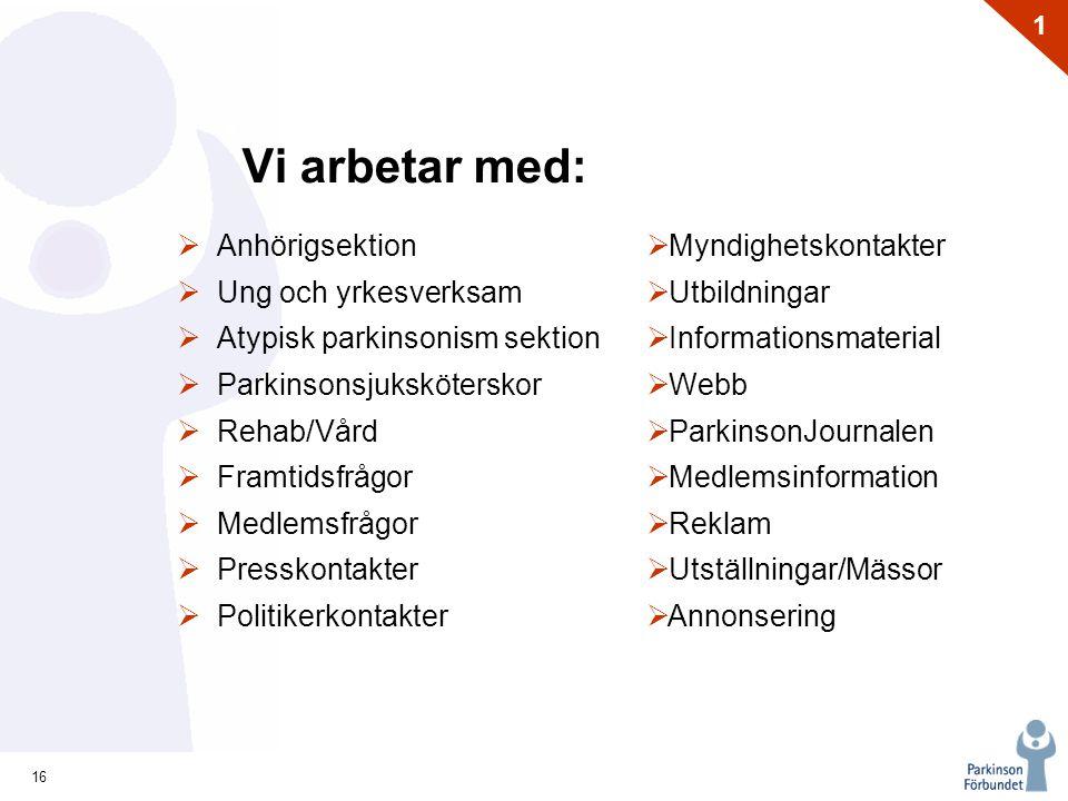 16 1 Vi arbetar med:  Anhörigsektion  Ung och yrkesverksam  Atypisk parkinsonism sektion  Parkinsonsjuksköterskor  Rehab/Vård  Framtidsfrågor 