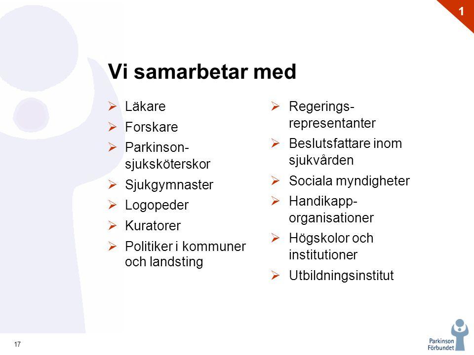 17 1 Vi samarbetar med  Läkare  Forskare  Parkinson- sjuksköterskor  Sjukgymnaster  Logopeder  Kuratorer  Politiker i kommuner och landsting 