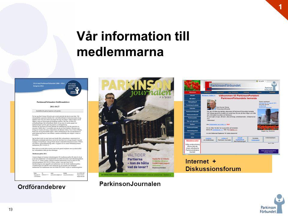 19 1 Vår information till medlemmarna Ordförandebrev ParkinsonJournalen Internet + Diskussionsforum