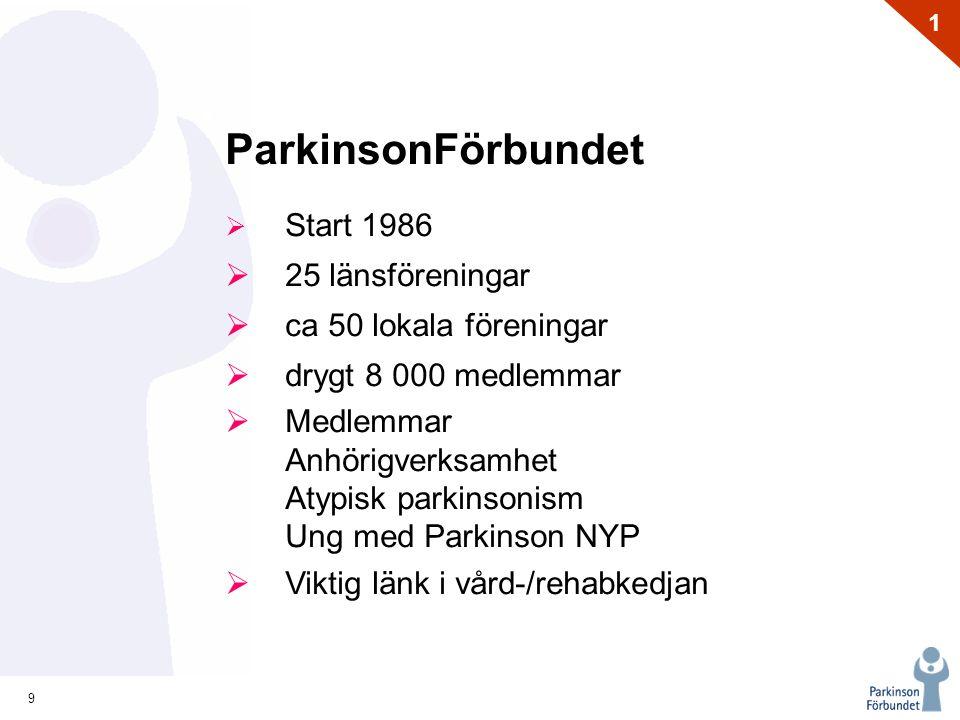 9 1 ParkinsonFörbundet  Start 1986  25 länsföreningar  ca 50 lokala föreningar  drygt 8 000 medlemmar  Medlemmar Anhörigverksamhet Atypisk parkinsonism Ung med Parkinson NYP  Viktig länk i vård-/rehabkedjan