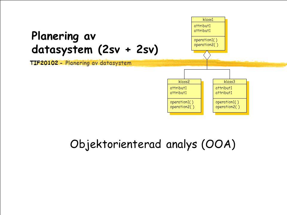 TIF20102 - Planering av datasystem Planering av datasystem (2sv + 2sv) Objektorienterad analys (OOA) klass1 attribut1 operation1( ) operation2( ) oper
