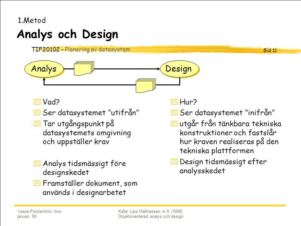 TIF20102 - Planering av datasystem Sid 11 Vaasa Polytechnic / kno januari, 99 Källa: Lars Mathiassen m.fl. (1998) Objektorienterad analys och design A