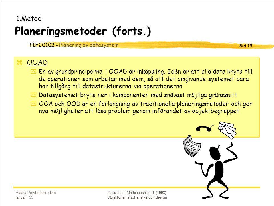 TIF20102 - Planering av datasystem Sid 15 Vaasa Polytechnic / kno januari, 99 Källa: Lars Mathiassen m.fl. (1998) Objektorienterad analys och design P