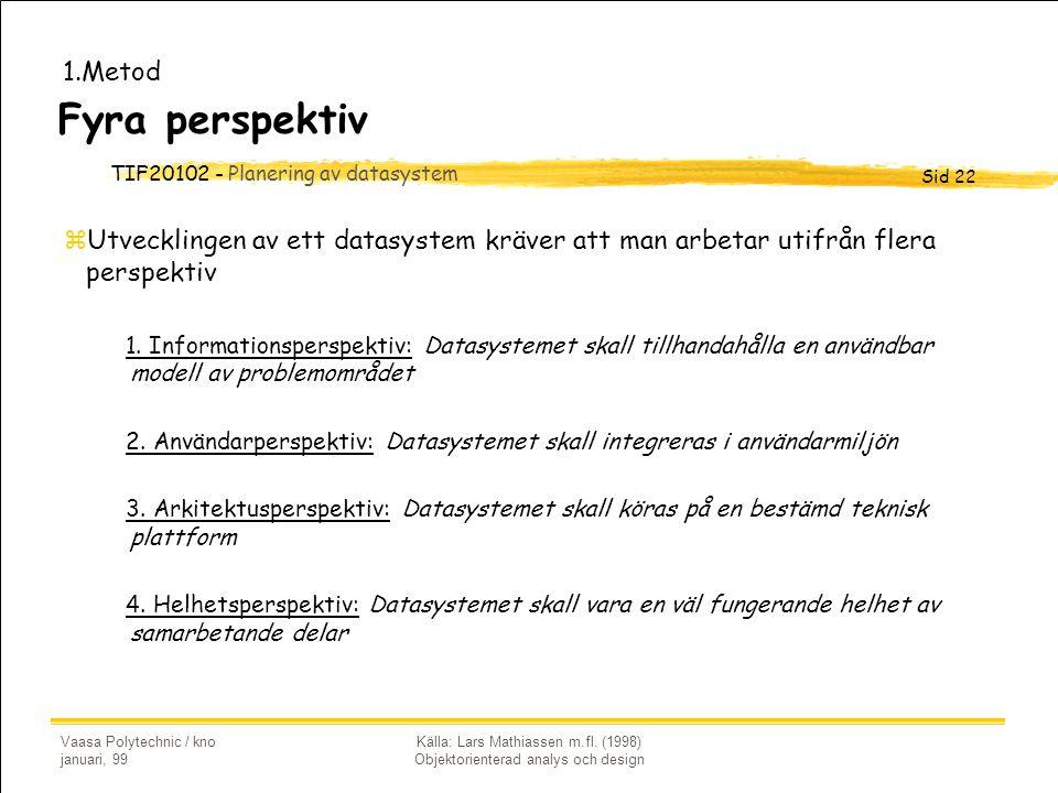 TIF20102 - Planering av datasystem Sid 22 Vaasa Polytechnic / kno januari, 99 Källa: Lars Mathiassen m.fl. (1998) Objektorienterad analys och design F