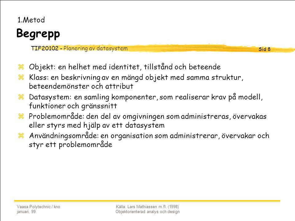 TIF20102 - Planering av datasystem Sid 8 Vaasa Polytechnic / kno januari, 99 Källa: Lars Mathiassen m.fl. (1998) Objektorienterad analys och design Be