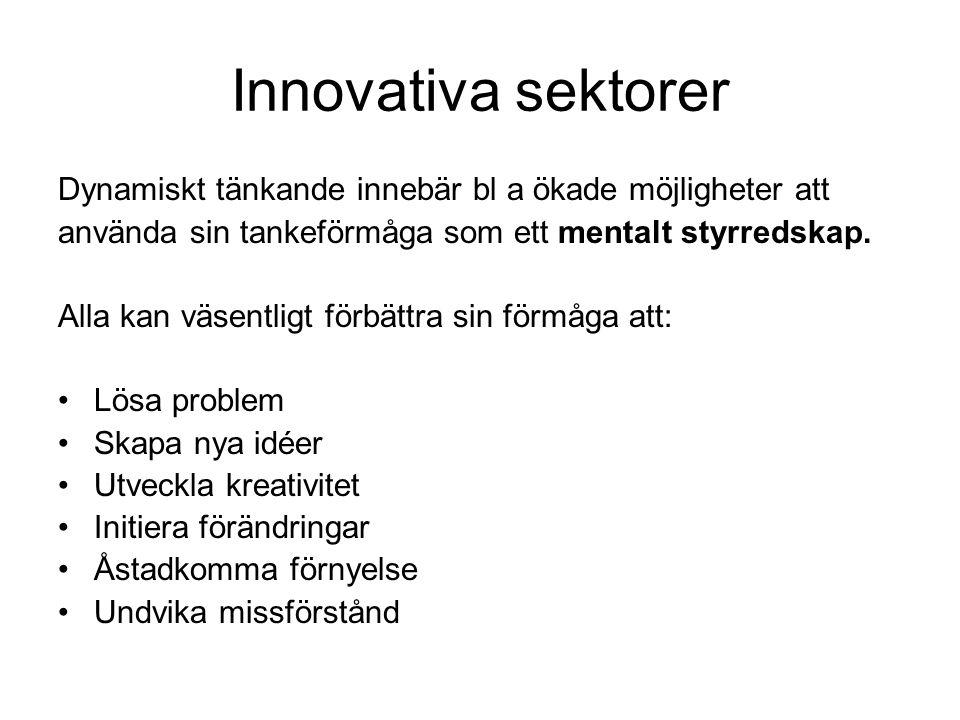 Innovativa sektorer Dynamiskt tänkande innebär bl a ökade möjligheter att använda sin tankeförmåga som ett mentalt styrredskap.