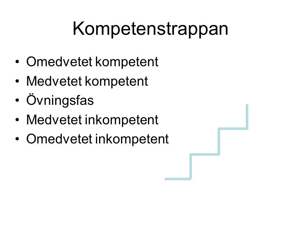 Kompetenstrappan Omedvetet kompetent Medvetet kompetent Övningsfas Medvetet inkompetent Omedvetet inkompetent