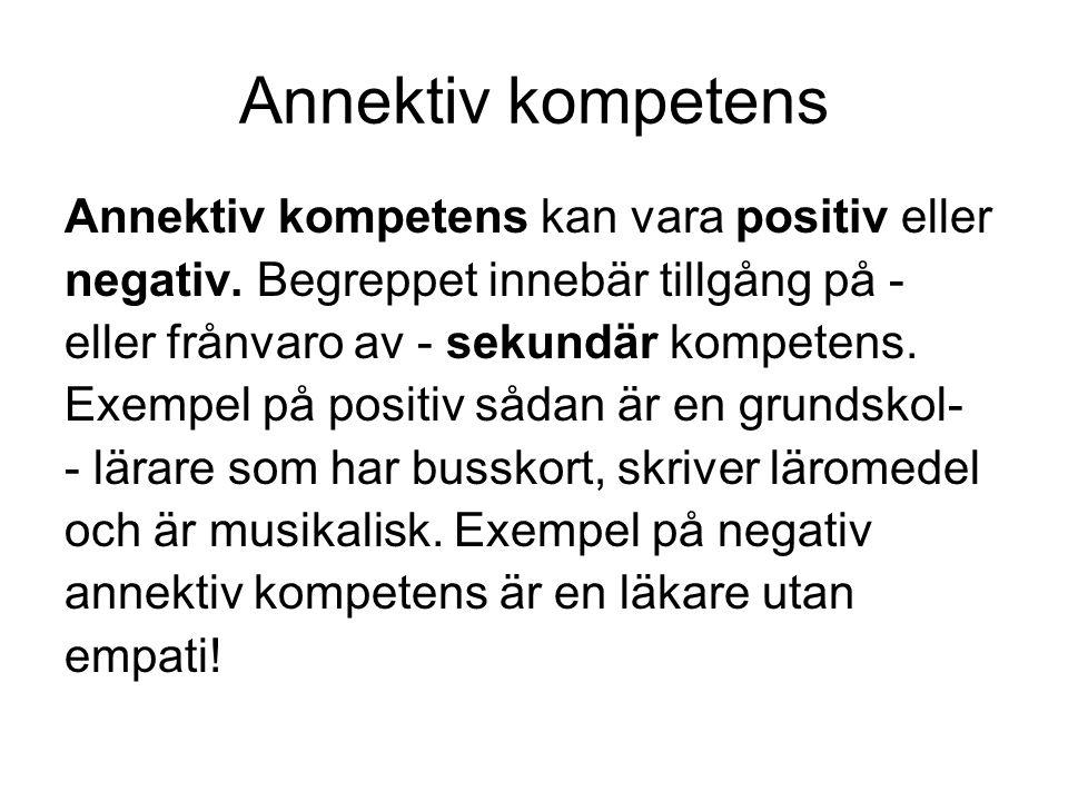 Annektiv kompetens Annektiv kompetens kan vara positiv eller negativ.