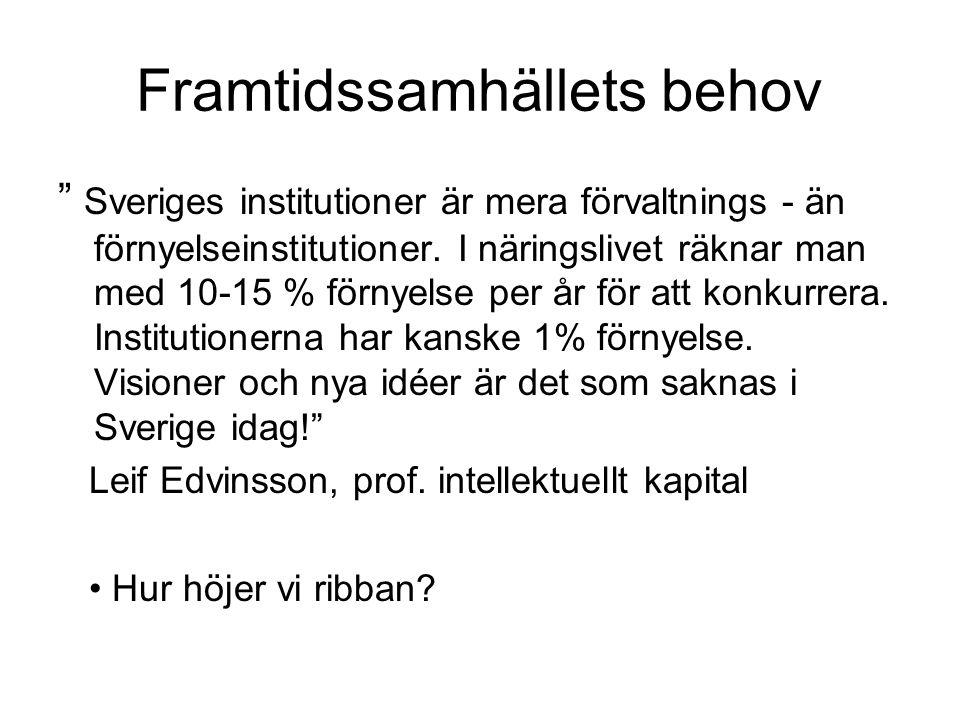 Framtidssamhällets behov Sveriges institutioner är mera förvaltnings - än förnyelseinstitutioner.