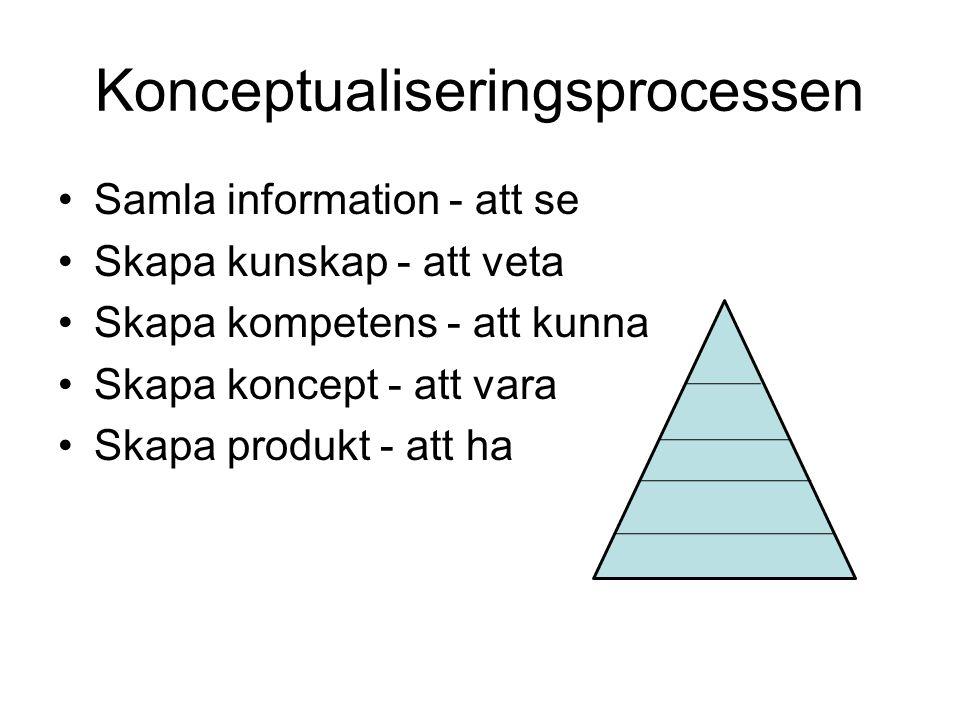 Konceptualiseringsprocessen Samla information - att se Skapa kunskap - att veta Skapa kompetens - att kunna Skapa koncept - att vara Skapa produkt - att ha