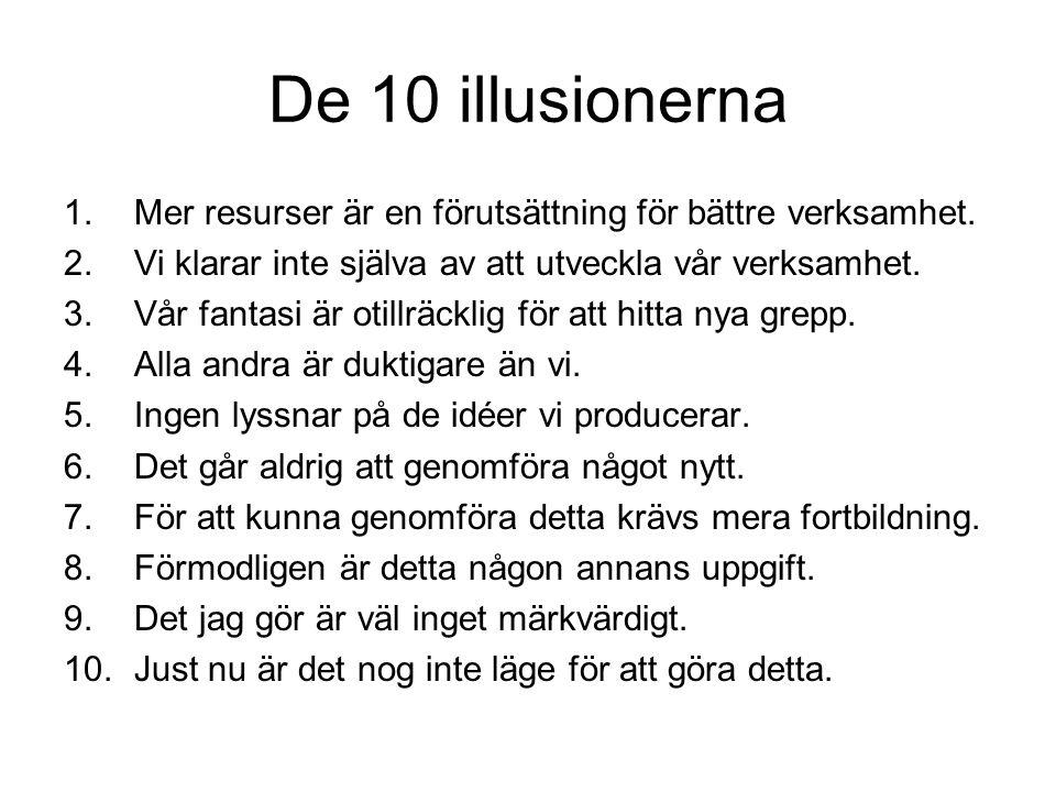 De 10 illusionerna 1.Mer resurser är en förutsättning för bättre verksamhet.