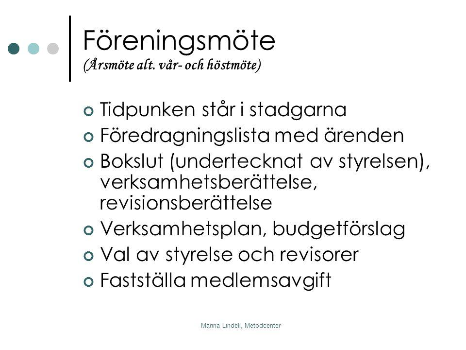 Marina Lindell, Metodcenter Föreningsmöte (Årsmöte alt.
