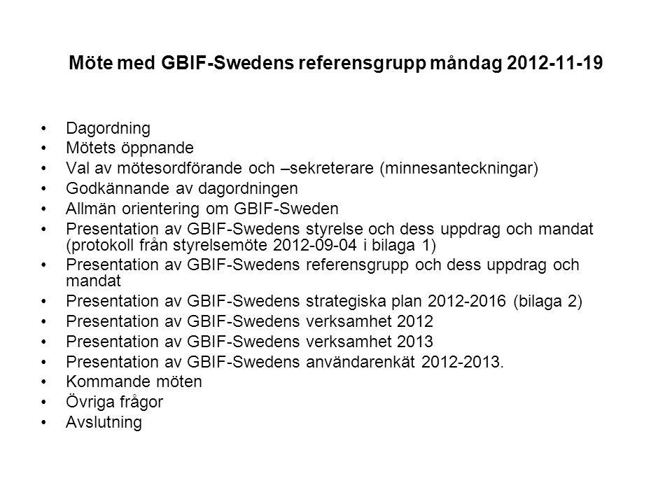 Möte med GBIF-Swedens referensgrupp måndag 2012-11-19 Dagordning Mötets öppnande Val av mötesordförande och –sekreterare (minnesanteckningar) Godkännande av dagordningen Allmän orientering om GBIF-Sweden Presentation av GBIF-Swedens styrelse och dess uppdrag och mandat (protokoll från styrelsemöte 2012-09-04 i bilaga 1) Presentation av GBIF-Swedens referensgrupp och dess uppdrag och mandat Presentation av GBIF-Swedens strategiska plan 2012-2016 (bilaga 2) Presentation av GBIF-Swedens verksamhet 2012 Presentation av GBIF-Swedens verksamhet 2013 Presentation av GBIF-Swedens användarenkät 2012-2013.