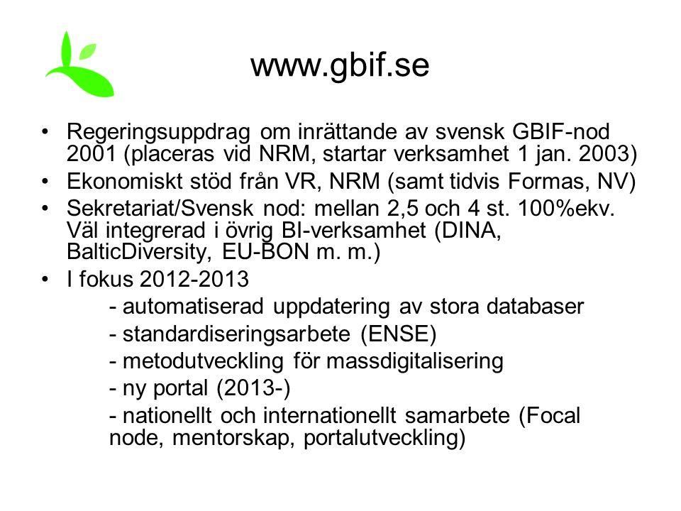 www.gbif.se Regeringsuppdrag om inrättande av svensk GBIF-nod 2001 (placeras vid NRM, startar verksamhet 1 jan. 2003) Ekonomiskt stöd från VR, NRM (sa