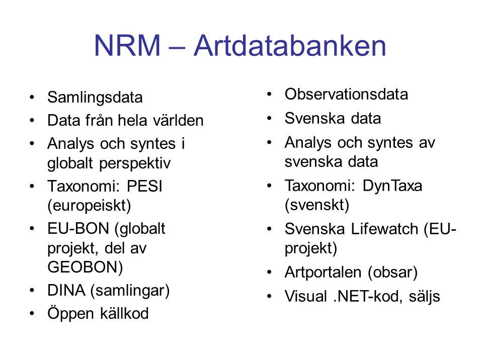 NRM – Artdatabanken Samlingsdata Data från hela världen Analys och syntes i globalt perspektiv Taxonomi: PESI (europeiskt) EU-BON (globalt projekt, de