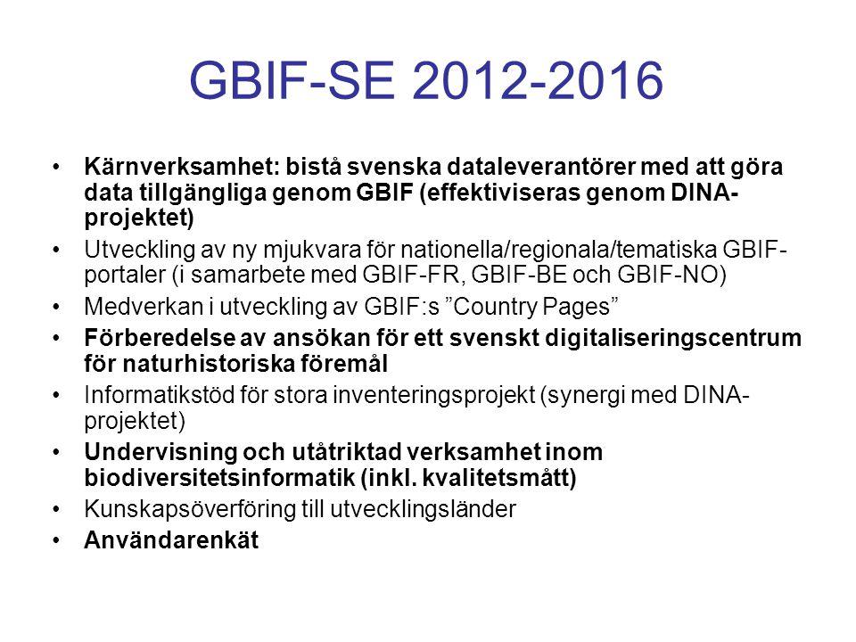 GBIF-SE 2012-2016 Kärnverksamhet: bistå svenska dataleverantörer med att göra data tillgängliga genom GBIF (effektiviseras genom DINA- projektet) Utve