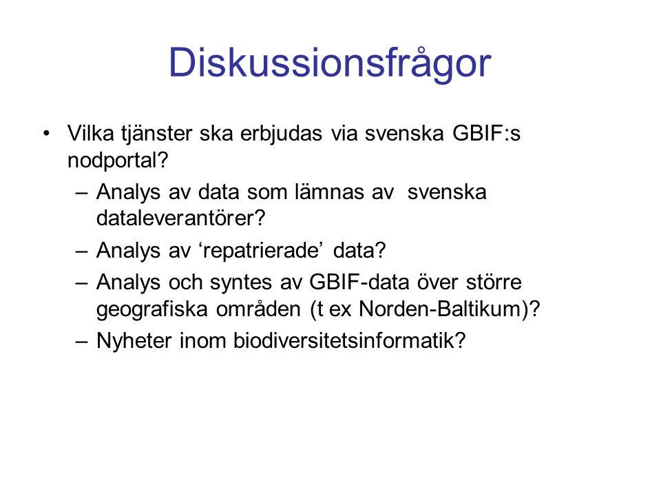 Diskussionsfrågor Vilka tjänster ska erbjudas via svenska GBIF:s nodportal? –Analys av data som lämnas av svenska dataleverantörer? –Analys av 'repatr