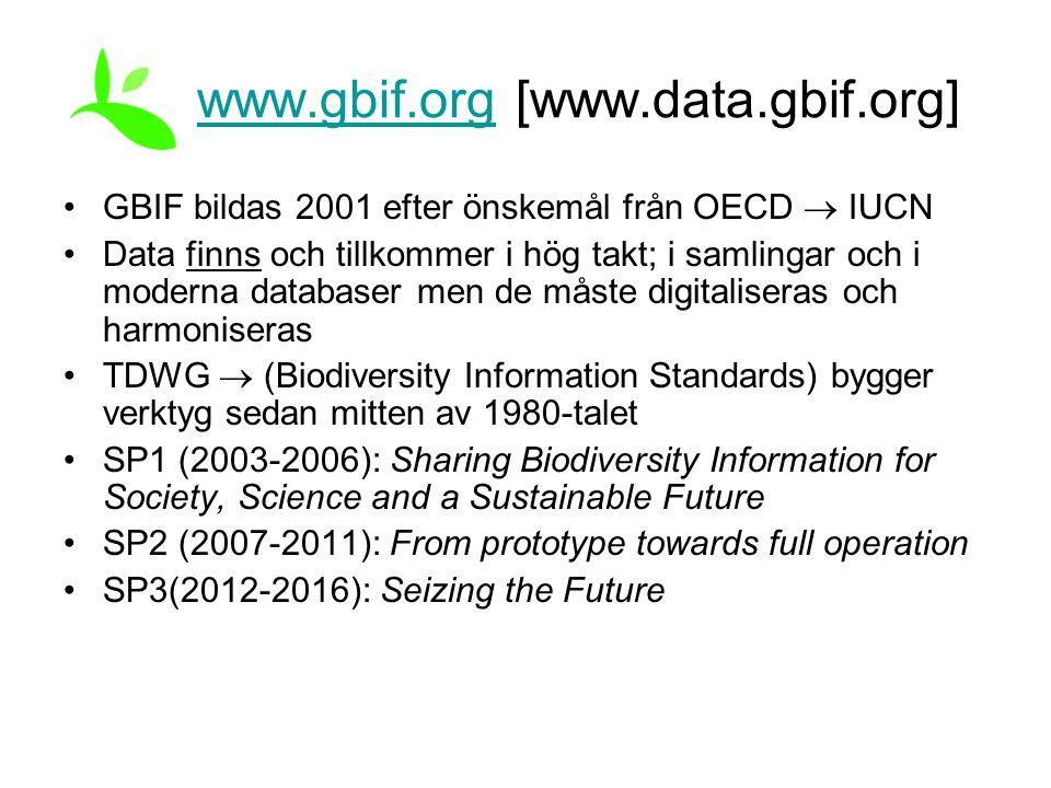 www.gbif.orgwww.gbif.org [www.data.gbif.org] GBIF bildas 2001 efter önskemål från OECD  IUCN Data finns och tillkommer i hög takt; i samlingar och i moderna databaser men de måste digitaliseras och harmoniseras TDWG  (Biodiversity Information Standards) bygger verktyg sedan mitten av 1980-talet SP1 (2003-2006): Sharing Biodiversity Information for Society, Science and a Sustainable Future SP2 (2007-2011): From prototype towards full operation SP3(2012-2016): Seizing the Future