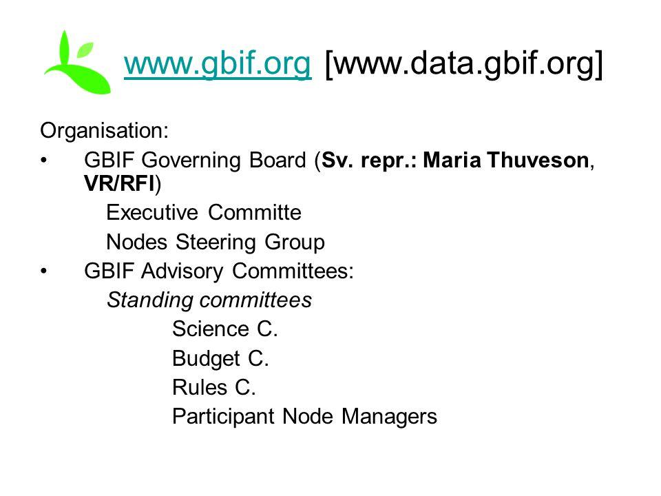 www.gbif.orgwww.gbif.org [www.data.gbif.org] Organisation: GBIF Governing Board (Sv. repr.: Maria Thuveson, VR/RFI) Executive Committe Nodes Steering