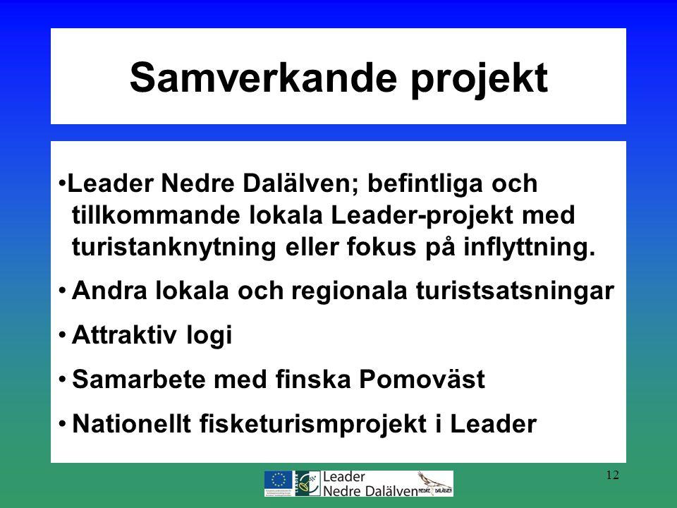 12 Leader Nedre Dalälven; befintliga och tillkommande lokala Leader-projekt med turistanknytning eller fokus på inflyttning. Andra lokala och regional