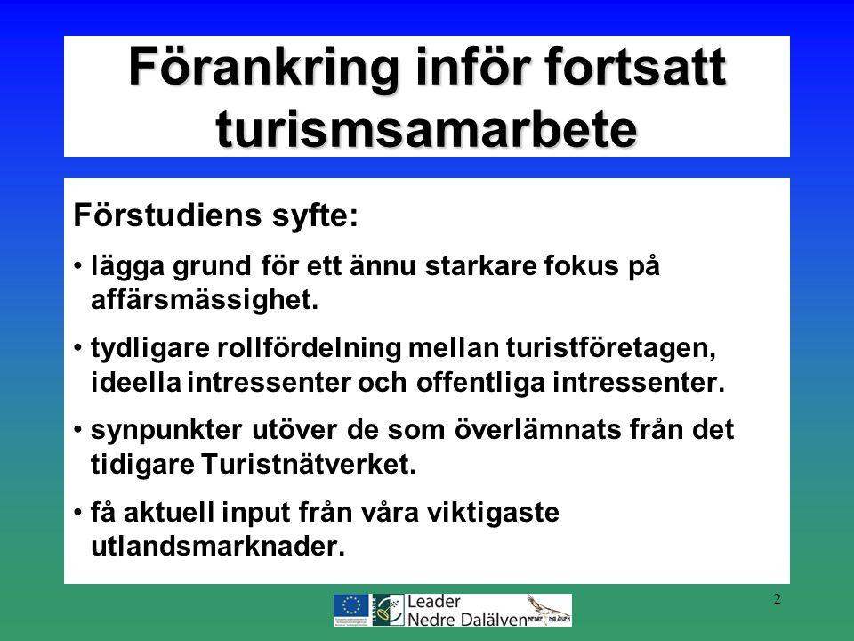 2 Förstudiens syfte: lägga grund för ett ännu starkare fokus på affärsmässighet. tydligare rollfördelning mellan turistföretagen, ideella intressenter