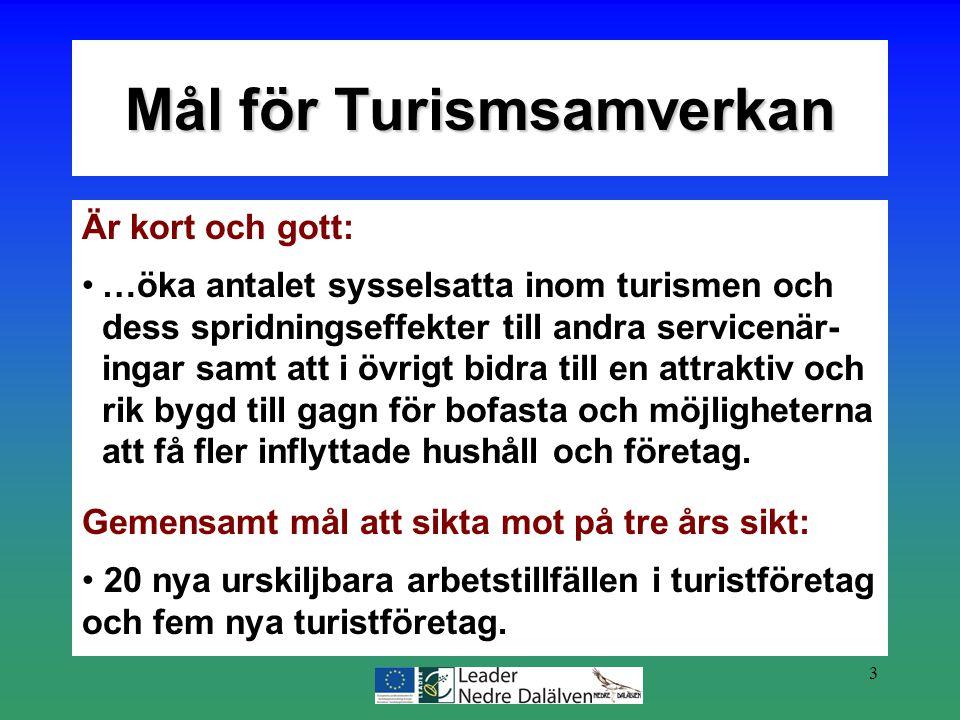 3 Är kort och gott: …öka antalet sysselsatta inom turismen och dess spridningseffekter till andra servicenär- ingar samt att i övrigt bidra till en at