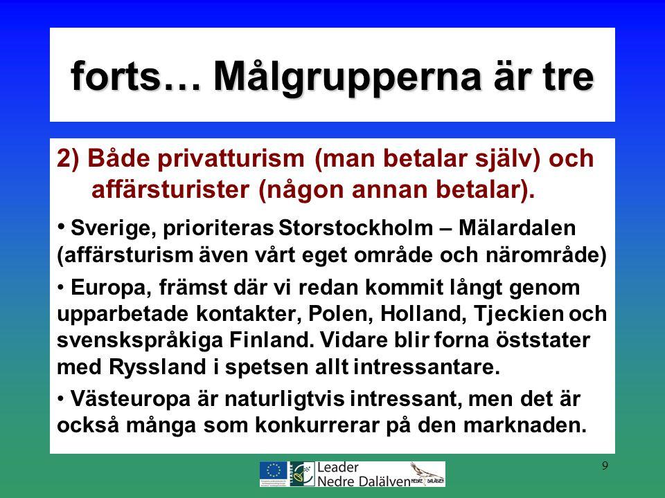 9 2) Både privatturism (man betalar själv) och affärsturister (någon annan betalar). Sverige, prioriteras Storstockholm – Mälardalen (affärsturism äve