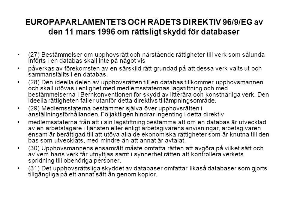 EUROPAPARLAMENTETS OCH RÅDETS DIREKTIV 96/9/EG av den 11 mars 1996 om rättsligt skydd för databaser (27) Bestämmelser om upphovsrätt och närstående rättigheter till verk som sålunda införts i en databas skall inte på något vis påverkas av förekomsten av en särskild rätt grundad på att dessa verk valts ut och sammanställts i en databas.