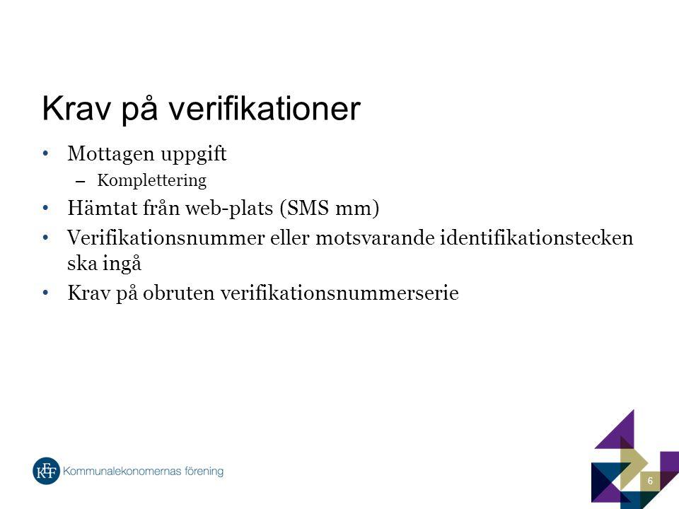 Krav på verifikationer Mottagen uppgift – Komplettering Hämtat från web-plats (SMS mm) Verifikationsnummer eller motsvarande identifikationstecken ska