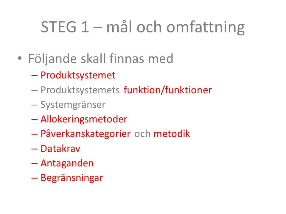 STEG 1 – mål och omfattning Följande skall finnas med – Produktsystemet – Produktsystemets funktion/funktioner – Systemgränser – Allokeringsmetoder –