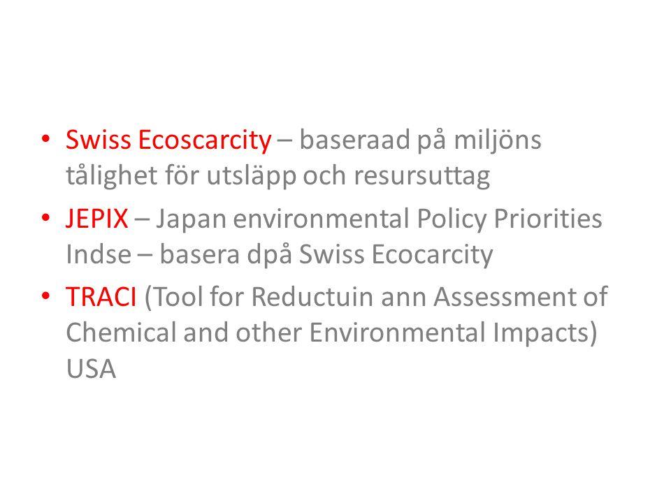 Swiss Ecoscarcity – baseraad på miljöns tålighet för utsläpp och resursuttag JEPIX – Japan environmental Policy Priorities Indse – basera dpå Swiss Ec