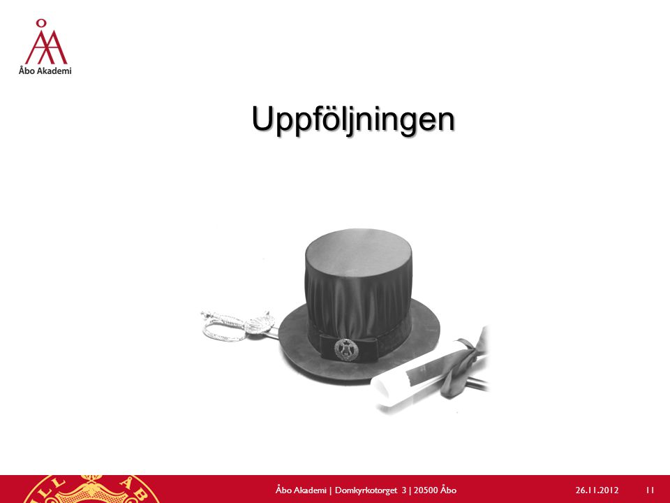 Uppföljningen 26.11.2012Åbo Akademi | Domkyrkotorget 3 | 20500 Åbo 11