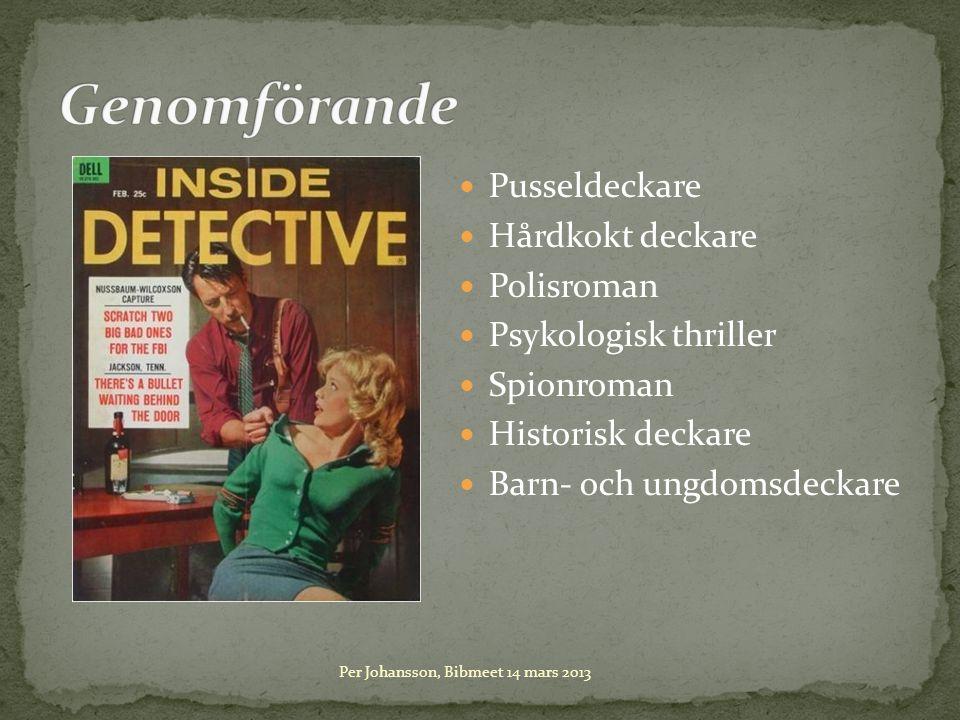 Pusseldeckare Hårdkokt deckare Polisroman Psykologisk thriller Spionroman Historisk deckare Barn- och ungdomsdeckare Per Johansson, Bibmeet 14 mars 2013